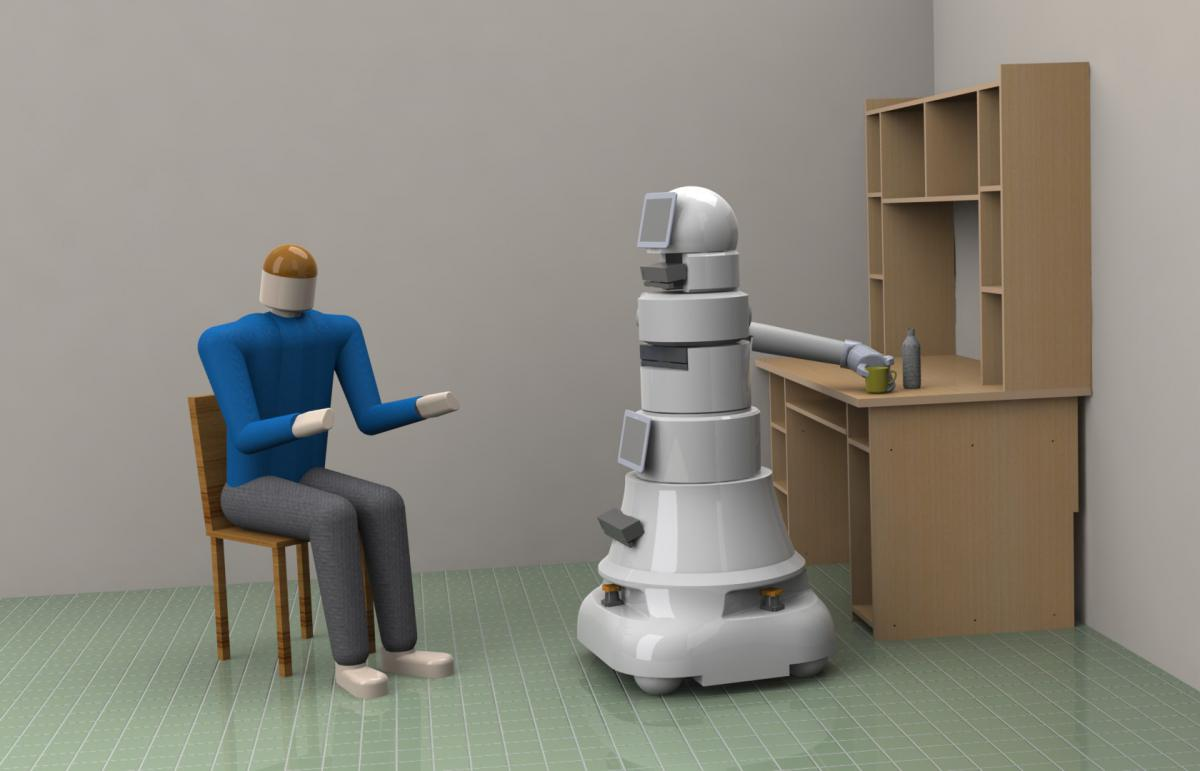 Conceptual robotic platform grasping a user's cup from a table